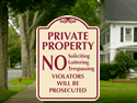 Metal security signs with upscale design.