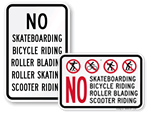 No Bicycles Signs