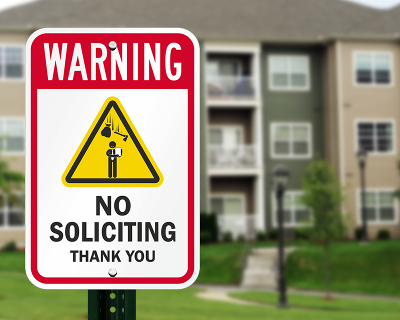 No solciting sign
