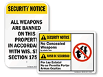 Concealed Weapon Signs