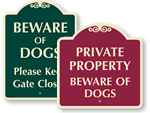 Desginer Beware of Dog Signs