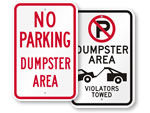 No Parking Dumpster Area Signs