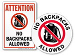 No Backpacks Allowed Signs