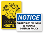Workplace No Bullying Signs