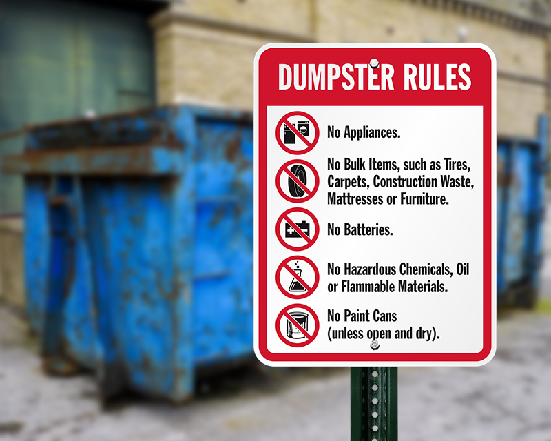 Dumpster Signs Dumpster Rules Signs At Best Prices