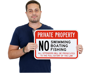 No Fishing on Private Property Signs