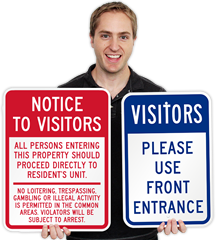 Visitors Entrance Signs