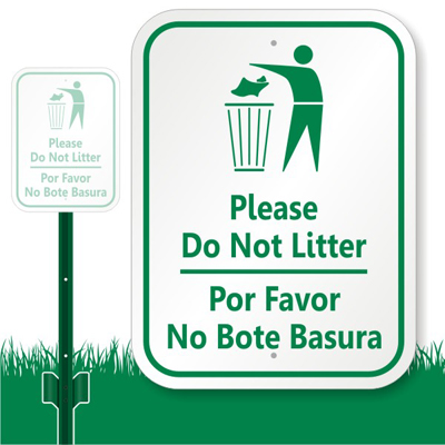 Bilingual Do Not Litter Lawnboss Sign & Kit, SKU: K-7353
