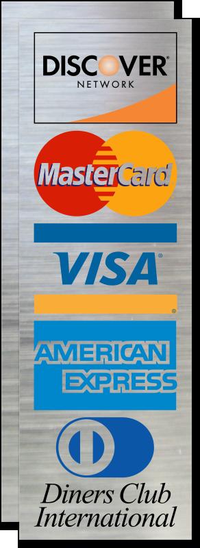 Discover, MasterCard, Visa, American Express Logo Glass ...