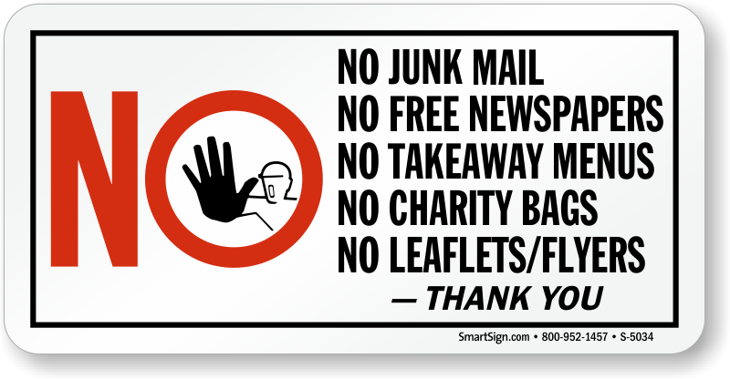 No Junk Mail, Free Newspapers, Charity Bags, Leaflets Sign, SKU: S ...
