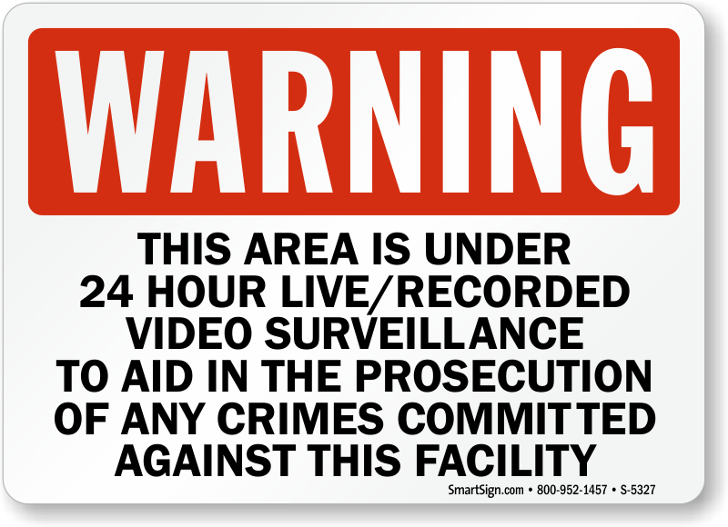 24 Hour Surveillance Signs | Free Shipping