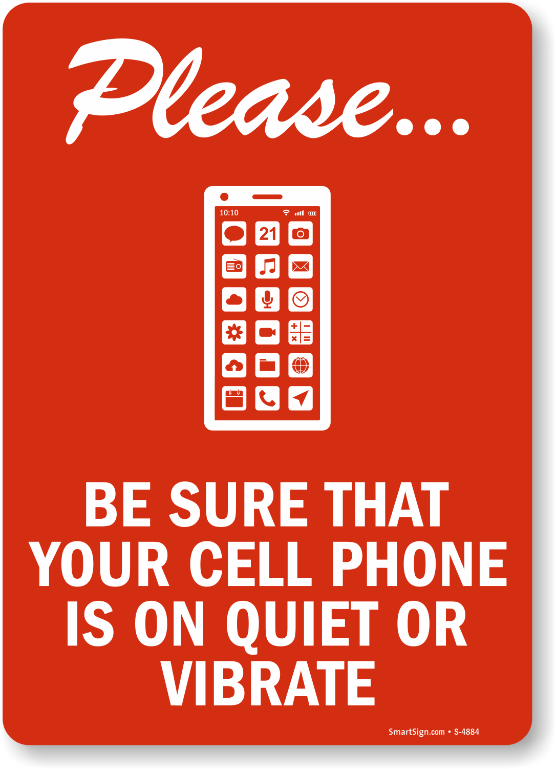Please Cell Phone Quiet Signs No Cell Phone Signs Sku S