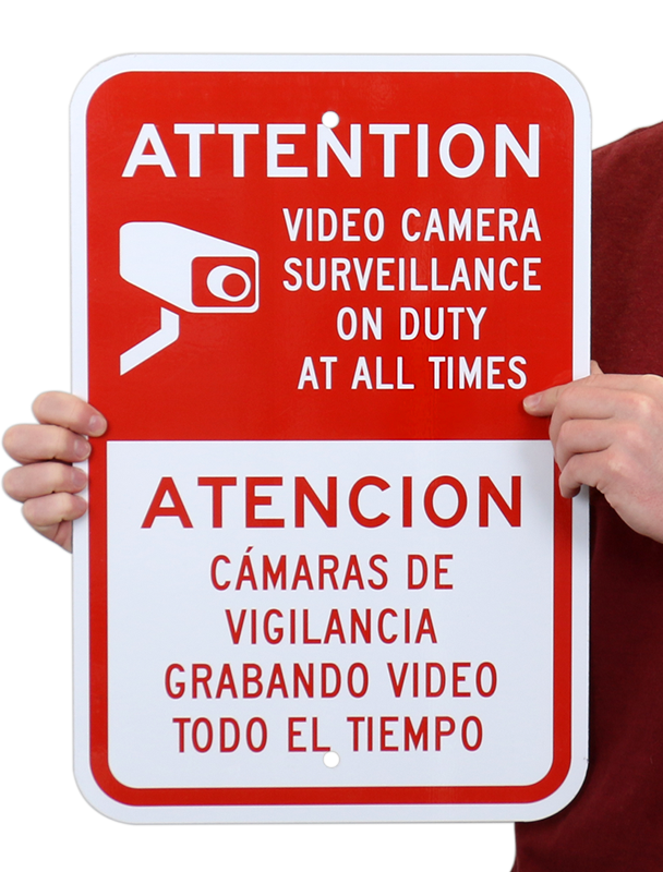 bilingual attention video surveillance sign with symbol. Black Bedroom Furniture Sets. Home Design Ideas