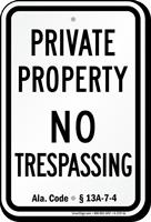 Alabama No Trespassing Sign