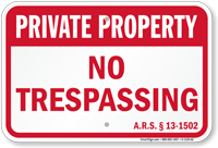 Arizona Private Property Sign