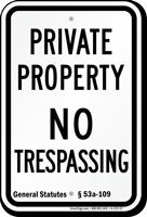 Connecticut No Trespassing Sign