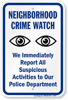 Neighborhood Crime Watch Sign with Eyes Symbol