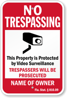 Custom Florida No Trespassing Sign