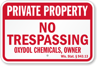 Wisconsin Custom Private Property Sign