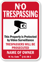 Customizable West Virginia No Trespassing Sign