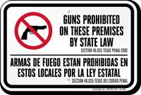 Bilingual Texas Guns Prohibited on Premises Sign, §46.035