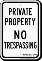 Kentucky No Trespassing Sign