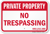 Kentucky Private Property Sign