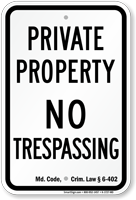 Maryland No Trespassing Sign