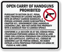 Bilingual Open Carry Of Handguns Prohibited Sign for Texas State (Section 30.07)