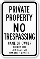 Private Property Sign New Mexico