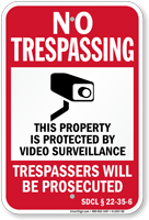 South Dakota Trespassers Will Be Prosecuted Sign