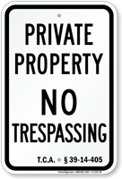Tennessee No Trespassing Sign