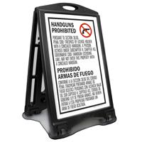Bilingual Texas Handguns Prohibited Sidewalk Sign, Sec 30.06