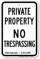 Utah No Trespassing Sign
