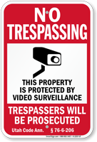 Utah Property Is Protected By Video Surveillance Sign