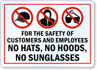 No Hats Hoods Or Sunglasses Label No Hoodies Sku Lb 2143