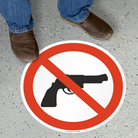 Firearms Prohibited Floor Sign Symbol