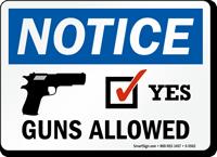 Guns Allowed OSHA Notice Sign