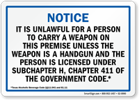 Handgun Warning Sign for Texas, Blue