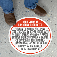 Texas 30.07 Open Carry Prohibited Floor Sign, English