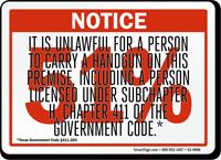 Red 51% Handgun Notice Sign
