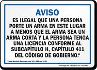 Spanish, Blue Handgun Warning Sign for Texas