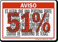 Spanish, Red 51% Handgun Warning Sign