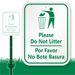 Bilingual Do Not Litter Sign
