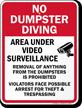 Area Under Video Surveillance No Dumpster Sign