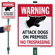 Attack Dogs On Premises No Trespassing Sign Kit