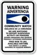 Bilingual Community Watch Free Ride To Jail Sign