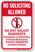 Do Not Solicit Residents No Soliciting Sign