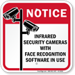Infrared Security Cameras With Face Recognition Sign