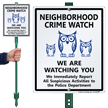 Neighborhood Crime Watch LawnBoss Sign
